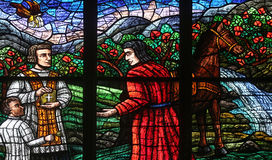 Window dedicated to Rudolf I in Votiv Kirche in Vienna Royalty Free Stock Photo