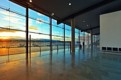 Window at departures hall of Valencia airport. Stock Photo