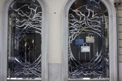 Window design by the fashion maison Versace in Milan Royalty Free Stock Photo