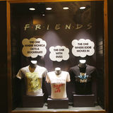 Window display decorated with Friends TV Show logo in Rockefeller Center Stock Photo