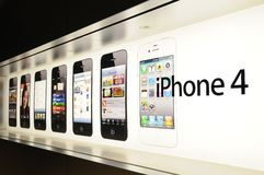 Window display of iphone Stock Images