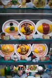 Window display with plastic food, Tokyo, Japan Stock Photography