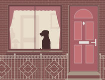 Window dog. Editable vector illustration of a dog looking out of a house window stock illustration