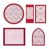 Window and door with asian pattern Stock Photography