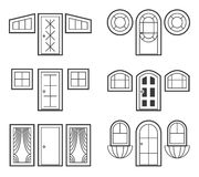 Window and door icons set Royalty Free Stock Photo