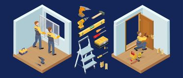 Window and door installing service. Isometric constraction repairs icons. Vector. vector illustration