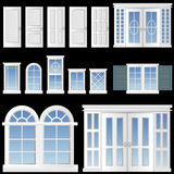 Window and door vector. Set of window and door vector stock illustration