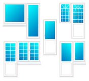 Window with door, vector illustration isolated set. Window with door, vector illustration isolated set Stock Photos