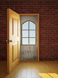 The window in the doorway Stock Photos