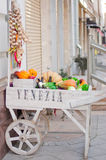 Window dressing restaurant cart with vegetables. Unusual design showcases restaurants in Moscow Stock Photos