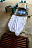 Window with drying linen Stock Photo