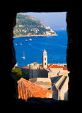 Window and Dubrovnik in Croatia Stock Photo
