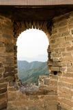 window in eastern Jinshanling Great Wall Stock Photo