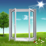 Window ecological. On the green grass Stock Photo