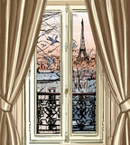 Window with Eiffel tower and roofs view Royalty Free Stock Images