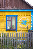 Window and facade of wooden house in Ukrainian village Stock Images