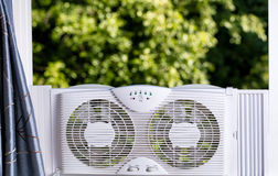 Free Window Fan Ready To Cool Down Room In Home During Hot Weather Royalty Free Stock Image - 73516106