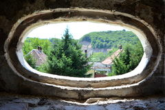 Window. Fantasy reconstruction of a medieval palace in the village Racos, Transylvania Stock Photo