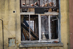 Window after the fire Stock Photo