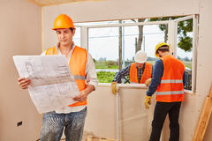 Window fitter team planning and modernizing Stock Photo