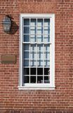 Window and Flat Arch Brickwork. Window of historic state government office building in Annapolis, Maryland USA, showing ornate flat arch brickwork lintel. Bricks stock photos