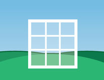 Window Floating. Window frame floating over the ground outside Royalty Free Stock Image
