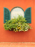 Window and flower box. Vintage style wood window and flowers Royalty Free Stock Photo