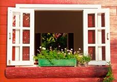Window with flower box. Image Stock Image
