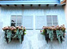 Window and flower box. Vintage Royalty Free Stock Photography