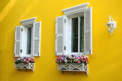 Window with flower box. White window with flower box Royalty Free Stock Image