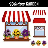 Window  Flower Garden, Pansies, Red and White Awning Stock Photos