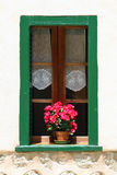 Window with flower pot. On the building wall Stock Photo