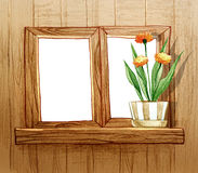 Window with flower pots Royalty Free Stock Photos