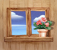 Window with flower pots Stock Images