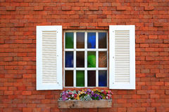 Window and flowerbox Royalty Free Stock Photo