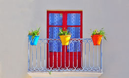 Window and flowerpots Royalty Free Stock Images