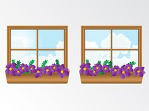 Window with flowers. Illustration Royalty Free Stock Photography