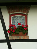 Window and flowers. In north Poland - Żuławy Stock Images