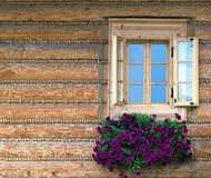 Window & Flowers. Window with flowers on log house Stock Image