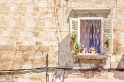 Window with flowers on the background of a white stone wall typical of architecture in Croatia. Window with flowers on the background of a sunny white stone wall Royalty Free Stock Photography
