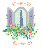 Window with flowers card - retro design Stock Photography