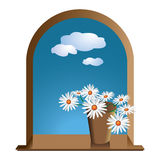 Window with flowers. Daisies and sky with clouds Stock Photography