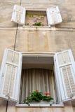 Window with Flowers, Dalmatia, Zadar, Croatia Royalty Free Stock Image