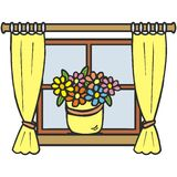 Window and flowers Stock Photography