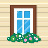 Window with Flowers in House. Street View on Wall. Stock Photography