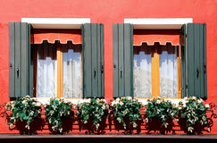 Window with Flowers, Murano, Italy. Window with Flowers. Murano, Italy Stock Photography