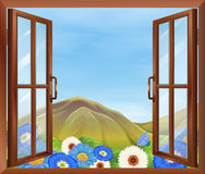 A window with flowers outside Royalty Free Stock Photography