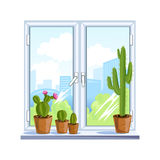 Window and flowers in pots on the windowsill Royalty Free Stock Photo