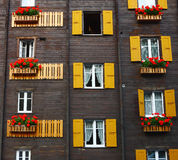 Window flowers in Spa town Leukerbad Royalty Free Stock Photos