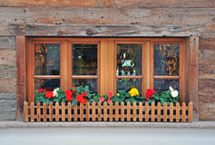 Window with flowers. Wooden window with flowers in Tyrol, Italy Royalty Free Stock Photo